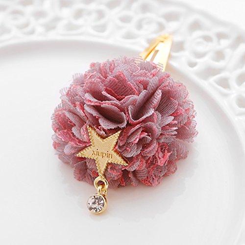 Kinder Haarschmuck niedlich Hortensie Haar Ring fünfzackigen Stern hängenden Matten Mädchen Haarnadel Spitze Ball Haarnadel, rosa