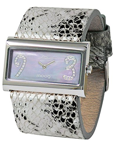 Moog Paris Wild Origin Women's Watch with White Mother of Pearl Dial, Silver Genuine Leather Strap & Swarovski Elements - M41636F-102