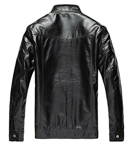 PLAER hommes manteau urbaine mode casual entreprise veste en cuir PU Noir