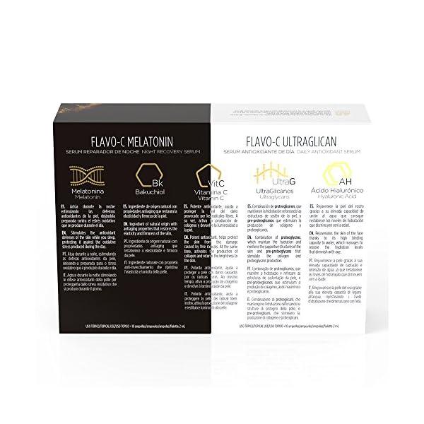 Isdin Isdinceutics Pack Day & Night Flavo-C Ultraglican + Flavo-C Melatonin | Tratamiento Día y Noche Antioxidante Reparador Monodosis 10 + 10 x 2ml