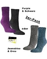 "2er Pack extrawarme Komfort Cotton Strümpfe ""Extra Soft"" Damensocken (RS-12778) - inkl. EveryHead-Hutfibel"