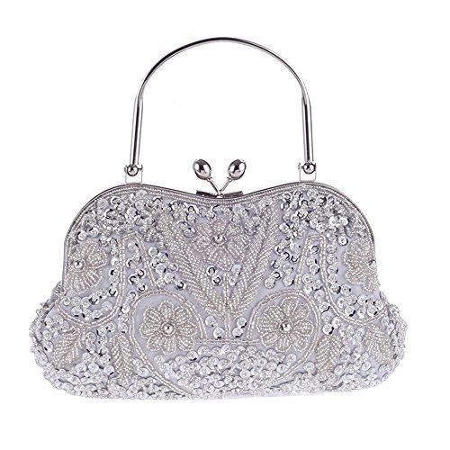 77d08e8a80e83 HIDOUYAL Damen Clutches Abendtaschen Handmade Kupplung Umhängetasche Perlen  Tasche mit Kette Silber