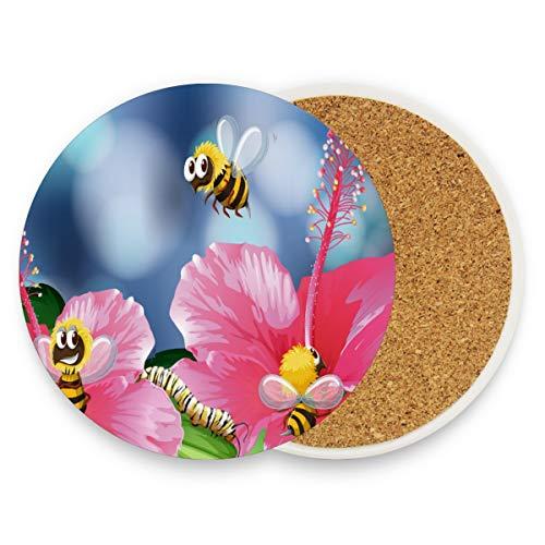 Bees Collecting Honey Flower Runde saugfähige Keramik Stein Getränkeuntersetzer Kaffeetassen Matten Set für Home Office Bar Küche (Set von 1 Stück), keramik, multi, 4er-Set (Bee Dekorationen Honey)