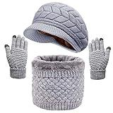 UMIPUBO Gorro Bufanda Guantes Set Invierno para Hombre y Mujer Set de Bufanda Conjunto de Guantes de Punto Bufanda y Gorros BufaSombrero de Pantalla T/áctil