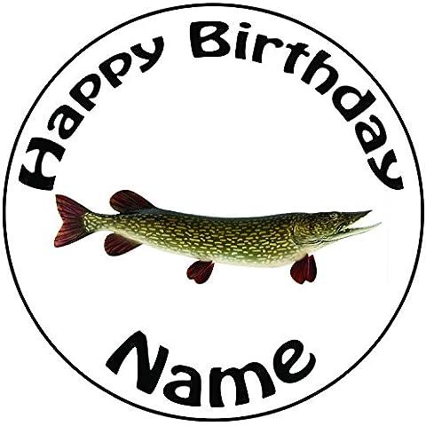 Personalizzato pesca Pike pesce–Topper per torta a pre-cut rotondo 8