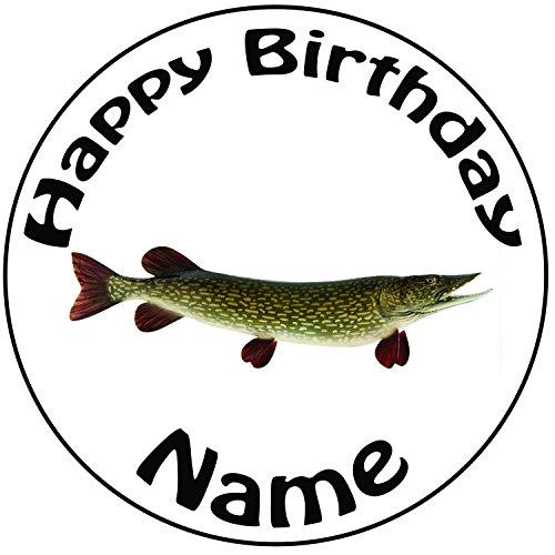 eln Hecht Fisch Zuckerguss Kuchen Topper / Kuchendekoration - 20 cm Großer Kreis - Jeder Name Und Jedes Alter (Captain Hook Party Supplies)