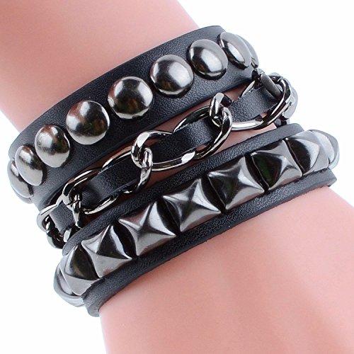 Moda stile Punk Wide Women Bracciale bracciali fidanzato regalo fatto di vera pelle e lega 4 colore nero