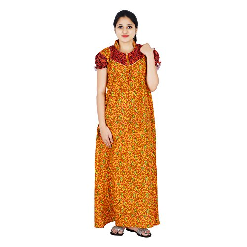 Orange and Maroon colour Floral Design Printed High Collar neck cotton nighty...