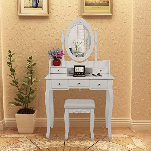Songmics 5 Schubladen Schminktisch mit Spiegel Hocker, inkl. 2 Stück Unterteiler, Kippsicherung, weiß 80 x 145 x 40 cm (B x H x T) RDT15W - 2