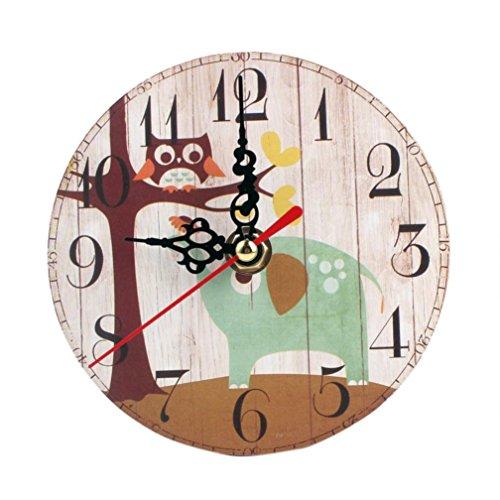 Preisvergleich Produktbild Vintage Wanduhr digitale Funk-Wanduhr Geschenk Ziffernblatt aus Holz Wohnzimmer Schlafzimmer LuckyGirls (G)