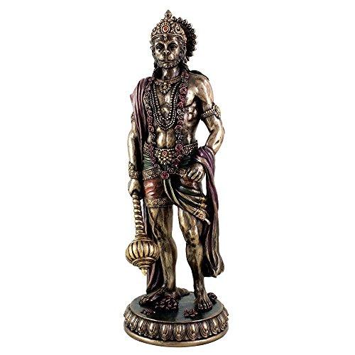 Large Hanuman Idol Hindu God of Strength Bajrangbali Statue - Cold Cast Bronze Sculpture - Diwali Decor Gifts