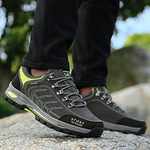 NEOKER Scarpe da Trekking Uomo Arrampicata Sportive All'aperto Escursionismo Sneakers Army Green Blu Nero Grigio 39-47 Grigio+Verde