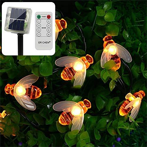 ErChen Lichterkette mit Fernbedienung, solarbetrieben, 30 niedliche Waben-LED-Lichter, 4,8 m, 8 Modi, wasserdicht, für Outdoor, Garten, Terrasse, Hochzeit, Party (Warmweiß)