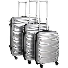 Pure maletín Wave/Maleta de viaje Set/maletín Set/juego/rígida/Hardcase/equipaje de mano/Cabin–Maleta/Trolley/sólida Pet/plata/4ruedas/TSA Cerradura de combinación, plata