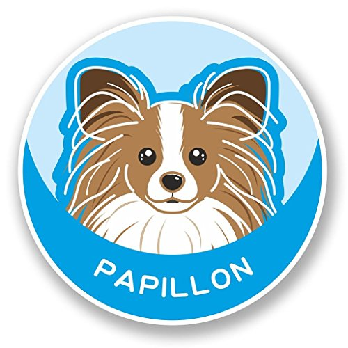 2x Papillon Continental Spielzeug Spaniel Hund vinyl Aufkleber Aufkleber Laptop Reise Gepäck Auto Ipad Schild Fun # 5991Trittschemel - 30cm/300mm Wide