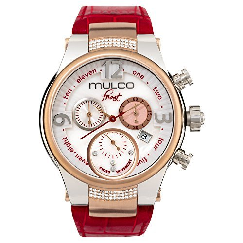 Mulco Frost MW5-2601-163 Red Leather Band Women Watch with Swarovski Crystals