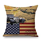 Vovotrade-pillow Vovotrade Home Decor Ornate Sofa Waist Throw Cushion Cover Pillow Case Independence Day American Flag Patriotic Design July 4th 45cmx45cm (B)