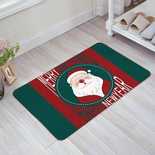 Lovely Smiling Santa Claus Merry Christmas Happy New Year Grün Rot Fußmatte Willkommen Matte-Eingangsmatte Tür Mats Fußmatte Badteppich (Santa Gummi Claus)