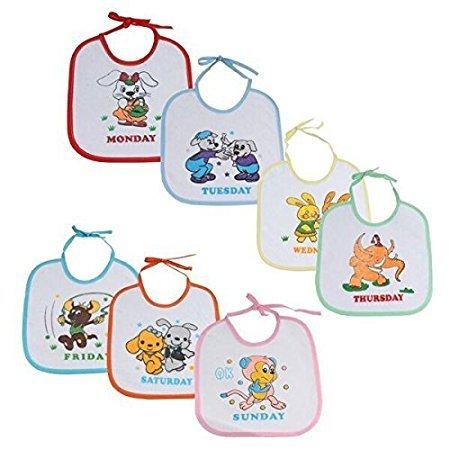 WonderKart® Beautiful Printed Baby Bib (Pack of 7 Bib) - Design And Color May Vary
