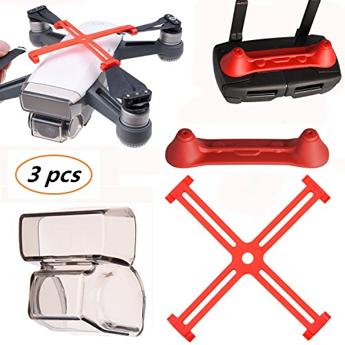 Kismaple Spark protector (Cover for camera lens cap + Propeller Clip protection + Controller Joystick Transmitter Protector) Accessories for DJI Spark Drone and remote control