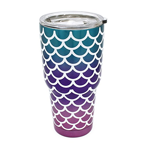 30 oz. Double Wall Stainless Steel Vacuum Insulation Travel Mug Crystal Clear Lid Water Coffee Cup - Works Great for Ice Drink, Hot Beverage (mermaid) Crystal Travel Mug