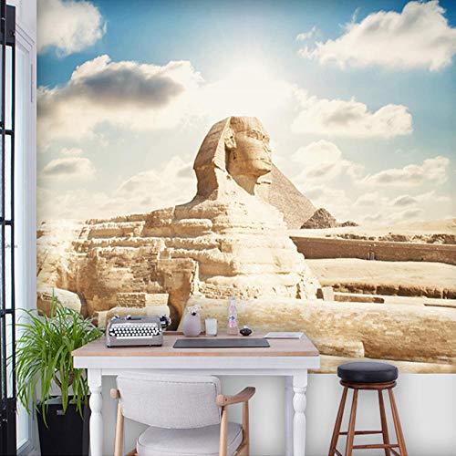 Große Sphinx (Benutzerdefinierte 3D Fototapete Klassische Ägyptische Sphinx Großes Wandbild Wohnzimmer Schlafzimmer Büro TV Hintergrund Tapete Dekoration Seidentuch Kleber senden 250x175cm)
