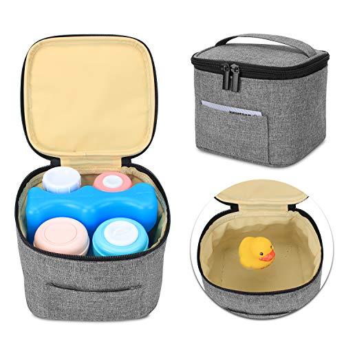 Luxja Borsa Isotermica per Biberon (Tenere 4 Flaconi del Latte Materno, 150 ml), Borsa Termica Biberon per l'immagazzinamento del Seno (Solo Borsa), Grigio