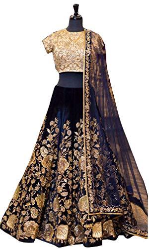 Indische Braut Heavy Velvet lehenga choli Dream Exporter 1134 - blau -