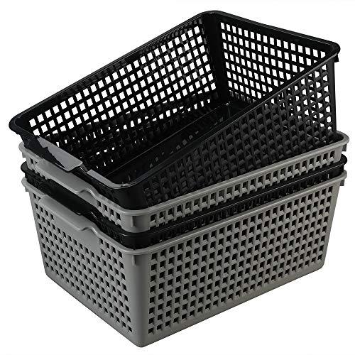 Ordate Plastikkorb Haushaltskorb Körbchen Korb Kunststoff Aufbewahrungskörbe aus Geflochtenem Badezimmer Groß, Grau Schwarz, 4 Stück