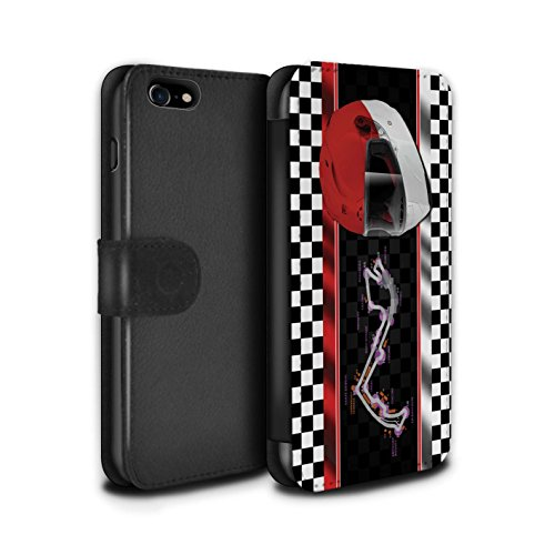 Stuff4 Coque/Etui/Housse Cuir PU Case/Cover pour Apple iPhone 8 / Bahreïn/Sakhir Design / F1 Piste Drapeau Collection Monaco/MonteCarlo