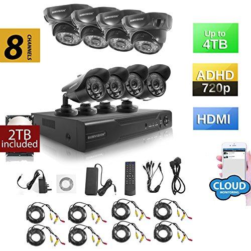 Sumvision CCTV Überwachungskamera Sicherheit Kamera System AHD DVR NVR Recorder Oracle Hybrid 720P CCTV Sicherheit System mit Wetter Proof Nachtsicht Kameras 960H/D1, HDMI-/VGA-/BNC Ausgang, 1000TVL hochauflösenden, vandalismusges/wetterfestes Metall Gehäuse, P2P Technology/E-Cloud Service, Schnellzugang über Smartphone QR Code Scan, PC EASY Remote-Zugang (2 Tb Hybrid-recorder)