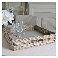 Bliss and Bloom Large Grey Wash Square Rattan Wicker Serving Tray