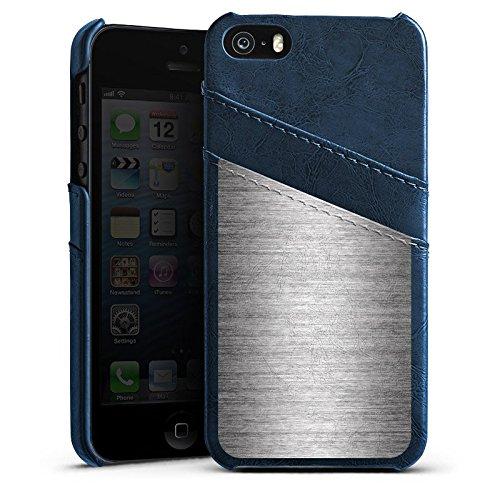 Apple iPhone 5 Housse Étui Silicone Coque Protection Metal Look argent Paillettes Métal Étui en cuir bleu marine