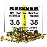 Reisser 8200S220350354 Holzschrauben, Pozi, 3,5 x 35mm, mit Senkkopf, Gelb, 200 Stück