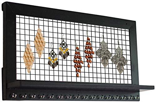 Organizer nero per gioielli da parete con mensola da socal buttercup – espresso, espositore, portagioie vintage in legno per orecchini, collane, bracciali, anelli, profumi, make up – ottima idea regal