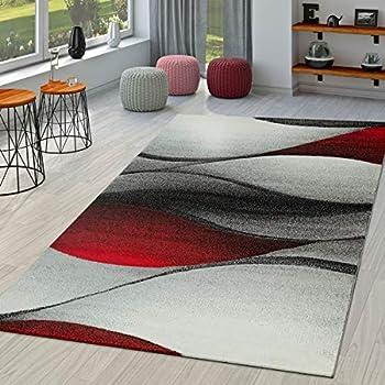TT Home Tapis Moderne Salon Abstrait Vagues Design Découpe des Contours en  Rouge, Dimension:120x170 cm