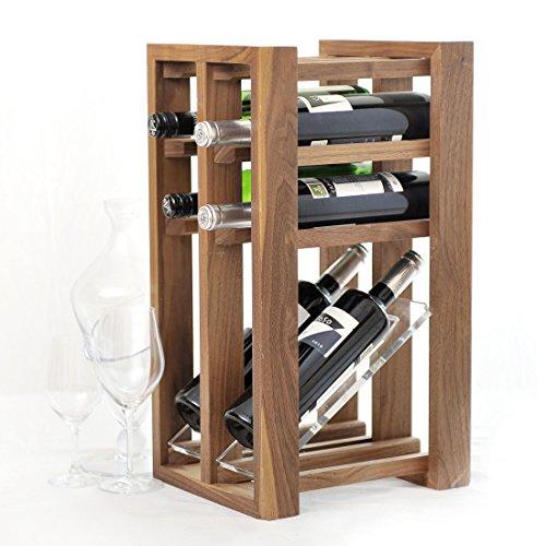 Weinregal / Flaschenregal VINTAGE, für 6 Flaschen, Holz, Eiche dunkel