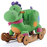 Labebe - Wooden Green Rocking Dinosaur with Wheels