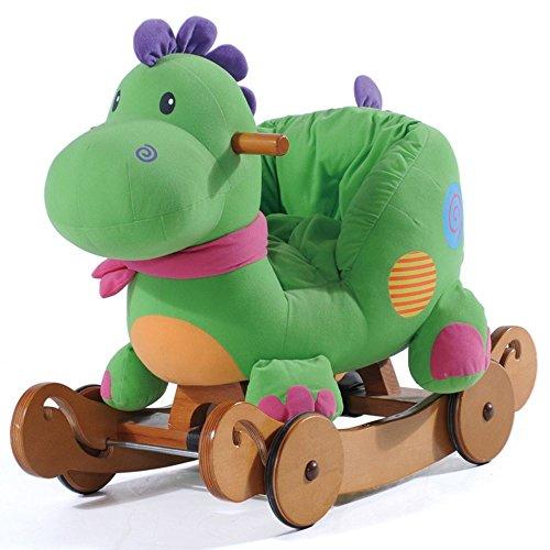 Labebe Baby hölzernes Schaukelpferd 2-in-1 Grüner Dinosaurier, Kinder Schaukeln Reiten-auf Spielzeug für 6 Monate bis 3 Jahre Alt Jungen und Mädchen, Weiche Plüsch gefüllt Tier Sitz, Dual Gebrauch als Spaziergänger, ASTM Sicherheit Zertifizierung