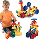 Loy Toys Educational Construction Building Blocks & Gears 80 Pieces, Durable, Non Toxic & Washable Plastic Toys, Promote Hand To Eye Coordination, Develop Imagination, Fine Motor Skills & Creativity
