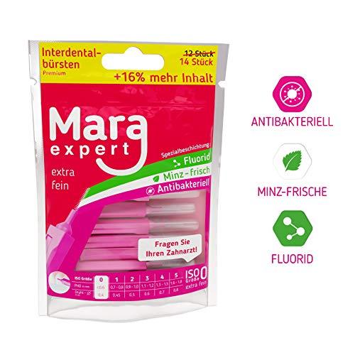 Interdentalbürste Pink von MARA EXPERT | 0,4mm ISO 0 extra fein | 12 + 2 Interdentalbürsten - Bürsten für Zahnzwischenräume | Zahn Pflege Ergänzung - Oral-b-fluorid