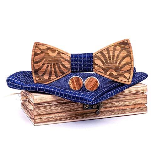 DeHolifer Mode Herren Elegant Log Holz Fliege Hohl Bogen aus Handgemachte Retro Umweltschutz Fliege Set inkl1 Fliege + 2 Manschettenknöpfe +1 Brosche +1 quadratisches Handtuch +1 Holzkiste -