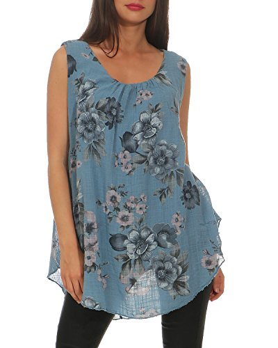 ZARMEXX Damen Bluse Sommer Tunika Flower-Print ärmellos Shirt A-Linie Viskosebluse Jeansblau, One Size (36-42)