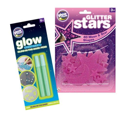 Unbekannt Die original Sterne Company Glitzer Sterne und Creations Stifte (The Stifte Dark Glow In)