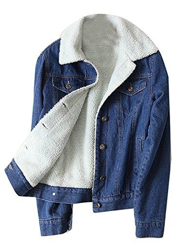 5 ALL Damen Jeansjacke Fleece Winter Vintage Langarm Verdicke Denim Jeans Trucker Jacke Mantel Beiläufige Outwear Outdoorjacke Kurzjacke Parka Darkblue S