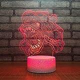 3D Lampara Led Luz Ilusión óptica Botón táctil color o 7 colores cambiar gradualmente Decoración del dormitorio del bebé regalo del día de San Valentín sueño asistido piranha