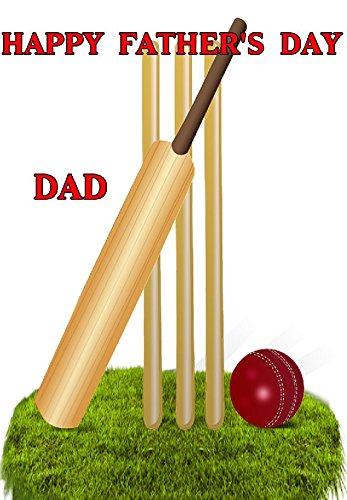 Cricket Bat & Stumps nfd101Fun Happy Father 's Day Karte A5Persönlichen Grüße Karten geschrieben von uns Geschenke für alle 2016aus Derbyshire UK