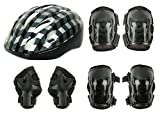 #3: PE-01-4 in 1 Multiple-Sports Protective Gears Kit For Age-7' to 16' (Helmet;;Knee Guards;; Elbow Guards;;Wrist Cum Palm Guards) Color May Vary From Red, Blue & Black