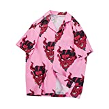 Camicia in Full Stampa Diavolo Hip Hop Donna Uomo Streetwear Floral Rapper Harajuku Camicie hawaiane Allentate Pink S = Asian L