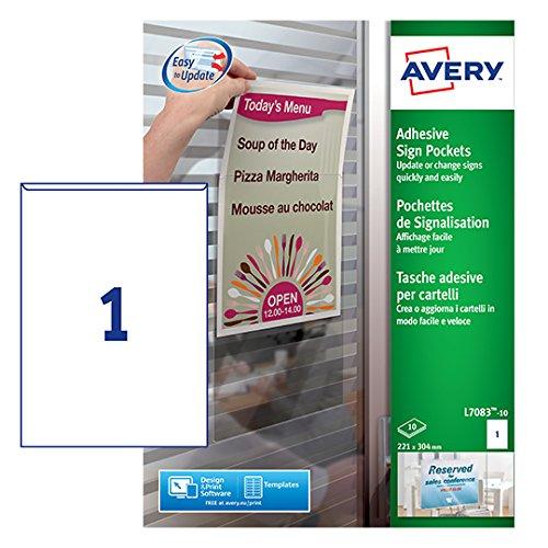 Avery España L7083 -10  Bolsillos adhesivos de plástico, 221 x 304 mm